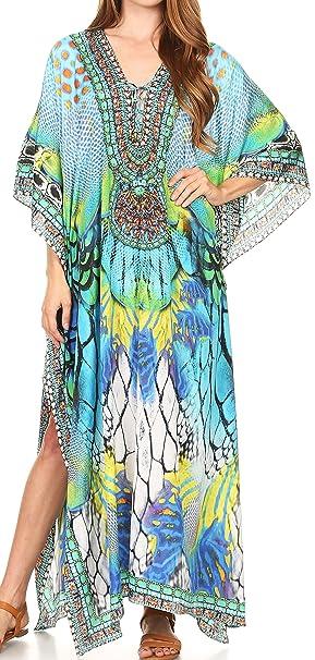 9e820638d65 Sakkas Women's Summer Vacation Kaftan Caftan Dresses - Turquoise Multicolor  - One Size - 17193