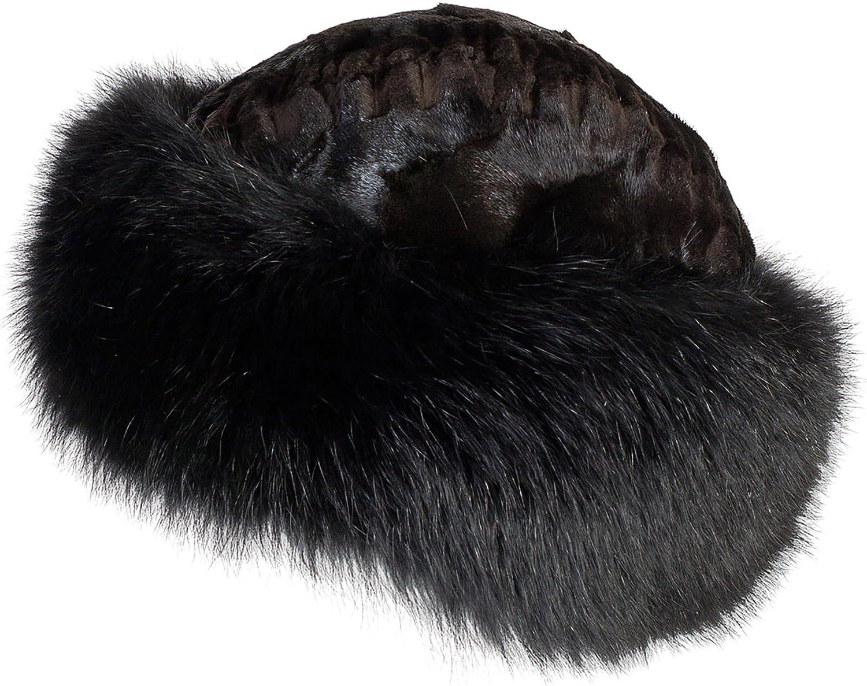 剪断ミンクファーCossack Hat With Foxファートリム ブラック/ブラック