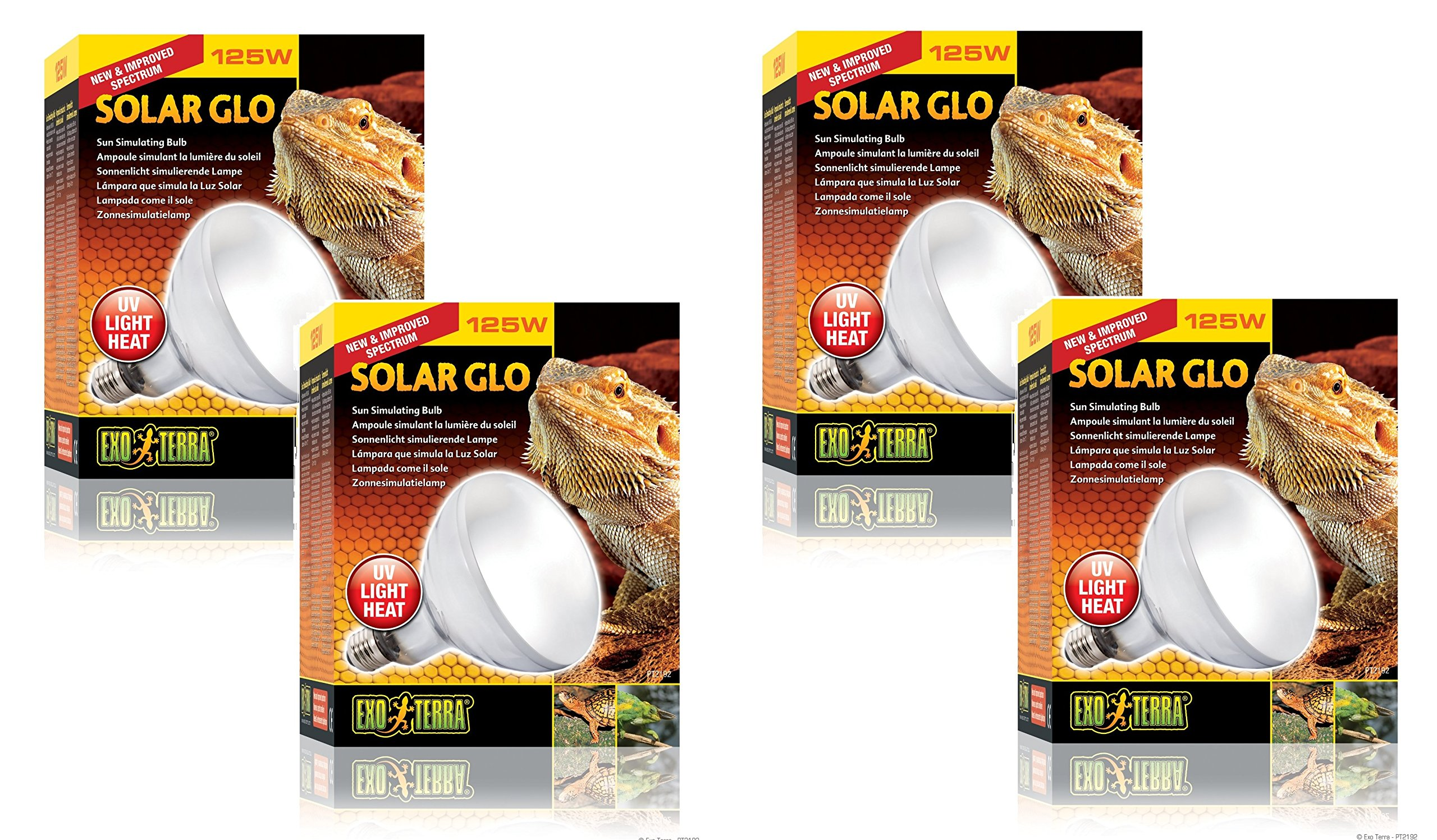 (4 Pack) Exo Terra Solar-Glo High Intensity Self-Ballasted Uv/Heat Mercury Vapor Lamp, 125 Watt by Exo Terra