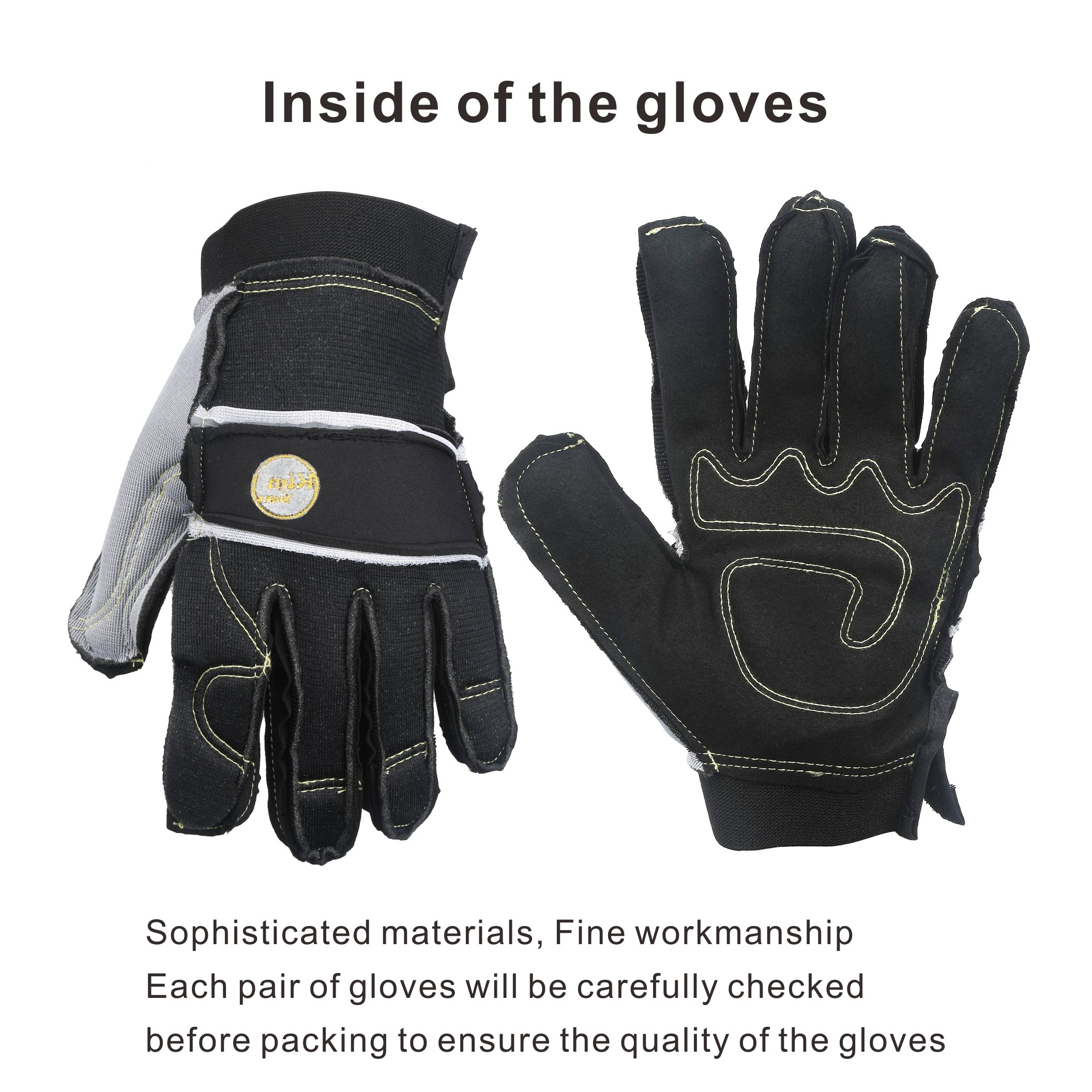 KIM YUAN Mechanic General Utility Breathable Work Gloves Touch Screen, Skid/Abrasion Resistant, Pefect for Warehouse, Construction, Outdoor, Men & Women, XL by KIM YUAN (Image #5)