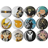 """Set of 12 Soul Eater 1"""" pins/buttons/badges"""