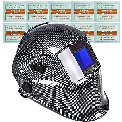 AWM WH02C casco de soldadura automática + 10 x lentes de reemplazo de soldadura gafas de
