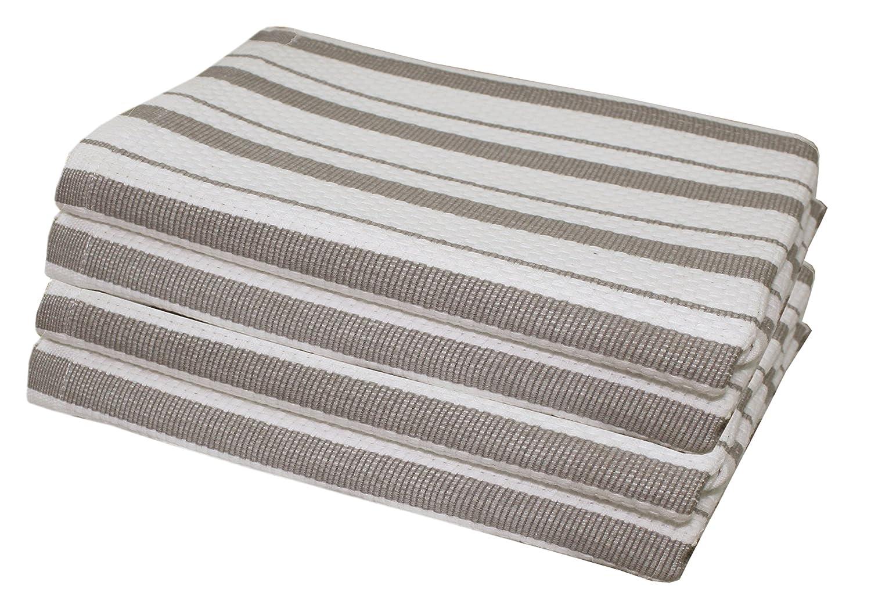 Cotton Craft - 4 Pack - Basket Weave Kitchen Towels - Grey - 100% Cotton - Oversized 20x30 - Modern Clean Striped Pattern - Convenient Hanging Loop