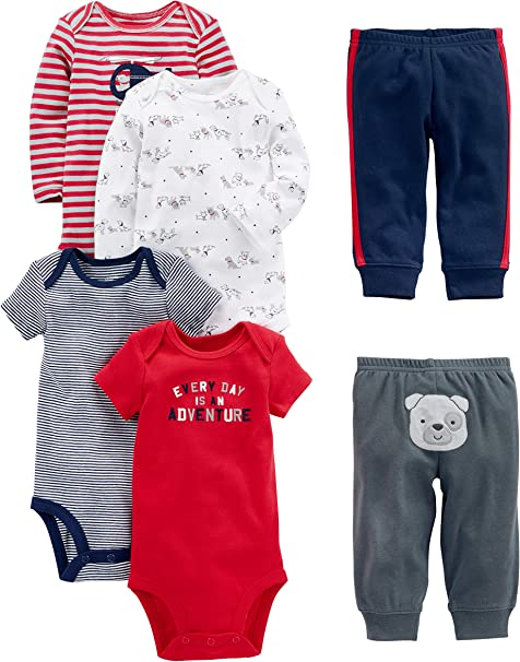 Marineblau Simple Joys by Carters Baby Jungen Strampler kurz/ärmlig 6er Pack T/ürkis 3-6 Months