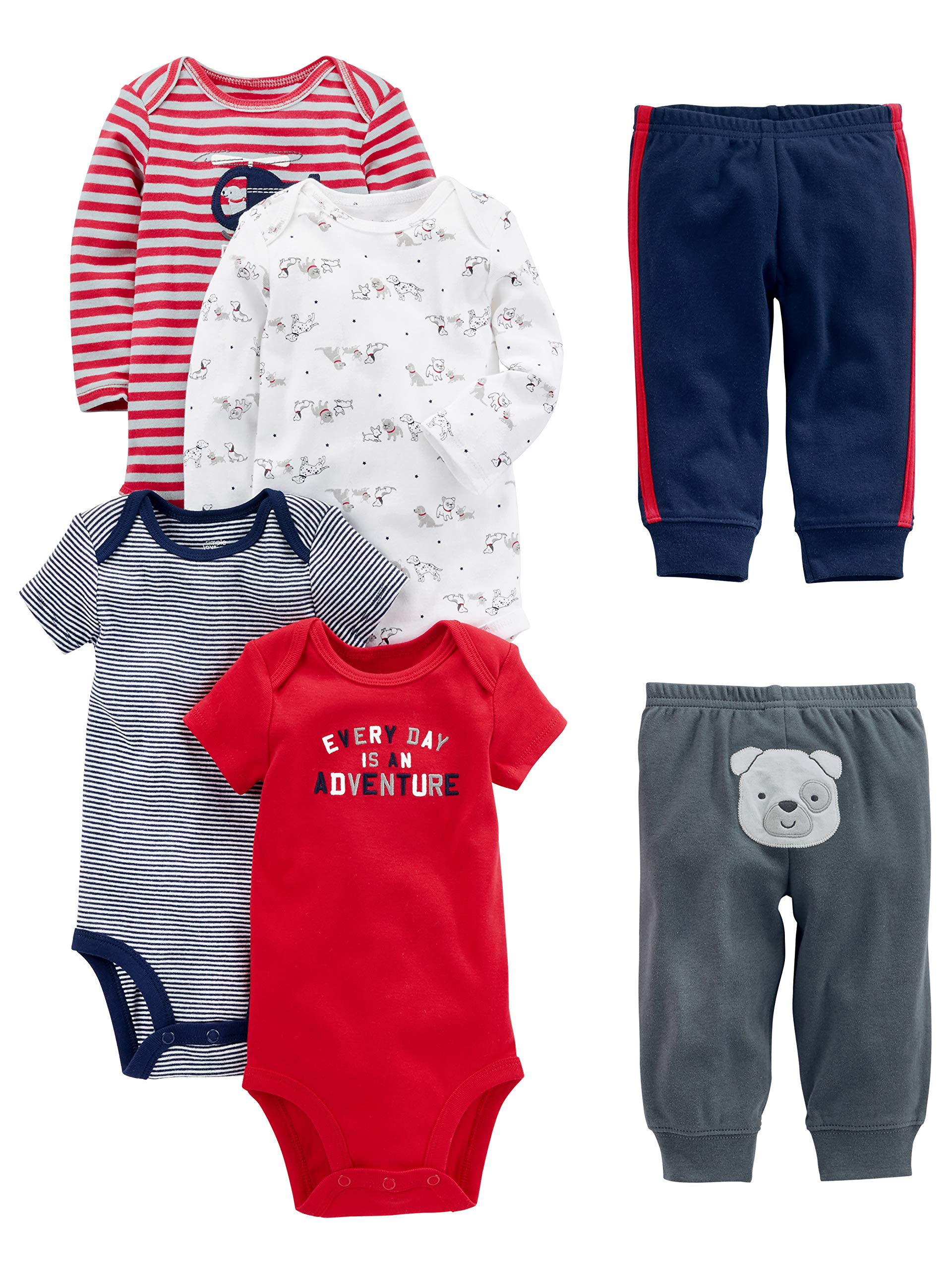 Simple Joys by Carter's Baby Boys 6-Piece Little Character Set, Red/Navy Bear, 6-9 Months by Simple Joys by Carter's