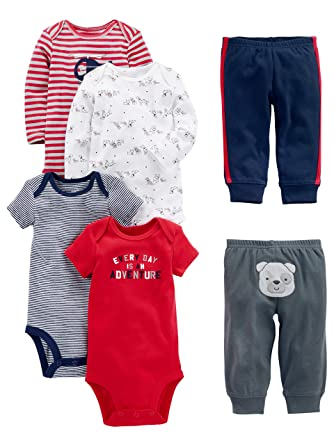 22c7dab74 Simple Joys by Carter's Baby Boys 6-Piece Little Character Set, Red/Navy
