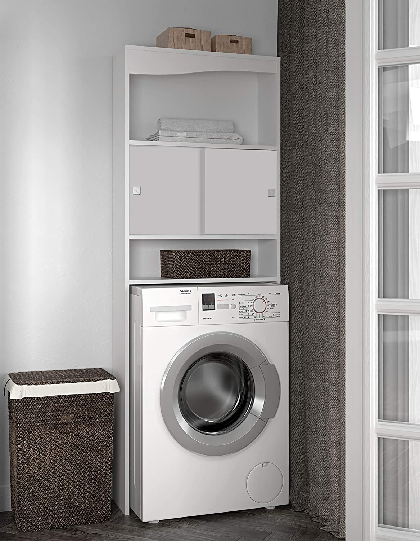 Symbiosis 6090A2121A17 - Mueble para baño con hueco para lavadora, color blanco