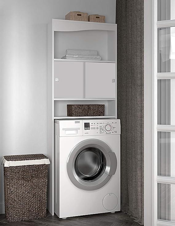 Symbiosis 6090A2121A17 - Mueble para baño con hueco para lavadora, color blanco: Amazon.es: Hogar