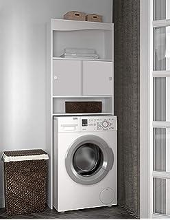 ECD Germany Mueble de lavadora - Blanco - 64 x 26 x 190 cm ...