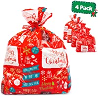 "Large Christmas Gift Bags Set - 4 Pack for Giant Xmas Presents - 36""x44"" Jumbo Size Sacks - Easy Holiday Wrapping Heavy Duty Pack with Tags & String Ties"