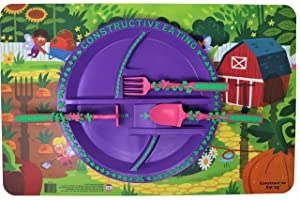 Constructive Eating Garden Fairy Combo with Set of 3 Utensils, Plate and Placemat for Toddlers, Babies and Kids - Flatware is Made in The USA Using Materials Tested for Safety