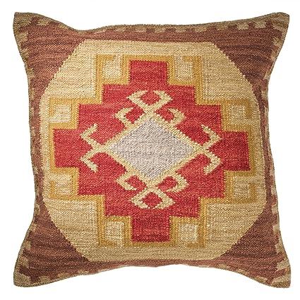 Kilim - Funda de cojín, comercio justo, hecho a mano, 80% lana y 20% algodón, 2 tamaños y 2 colores, granate, 60x60