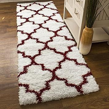 white u0026 red shag rug trellis lattice geometric 2x8 2u0027 7u0026quot x 8