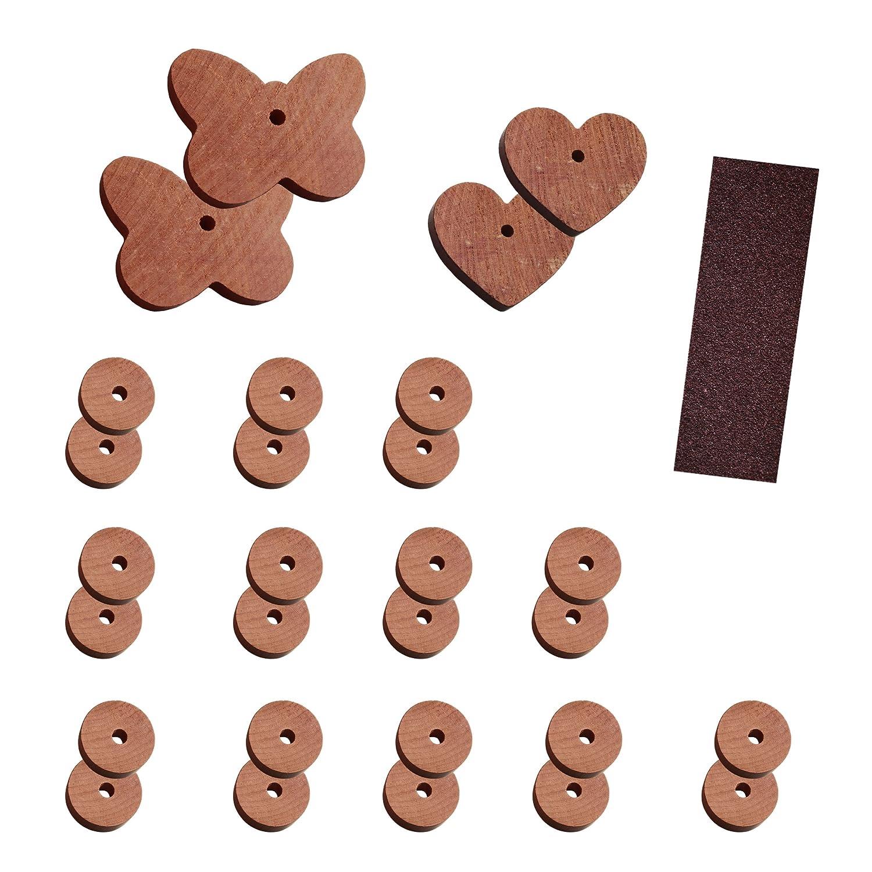 Set anti-nuisibles 29 pièces - Anti: antimite et papillons en cèdre naturel (sans produits chimiques) - avec ficelle et papier de verre pour le bois
