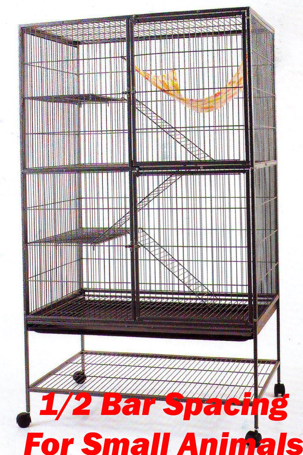 Extra Large 1/2 Inch Bar Spacing Double Large Front Doors For Feisty Ferret Chinchilla Rat Small Animal Cage With Stand,Black Vein