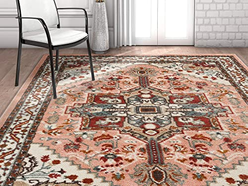 Well Woven Vettore Celesita Traditional Vintage Medallion Pink Area Rug 3 3 x 5