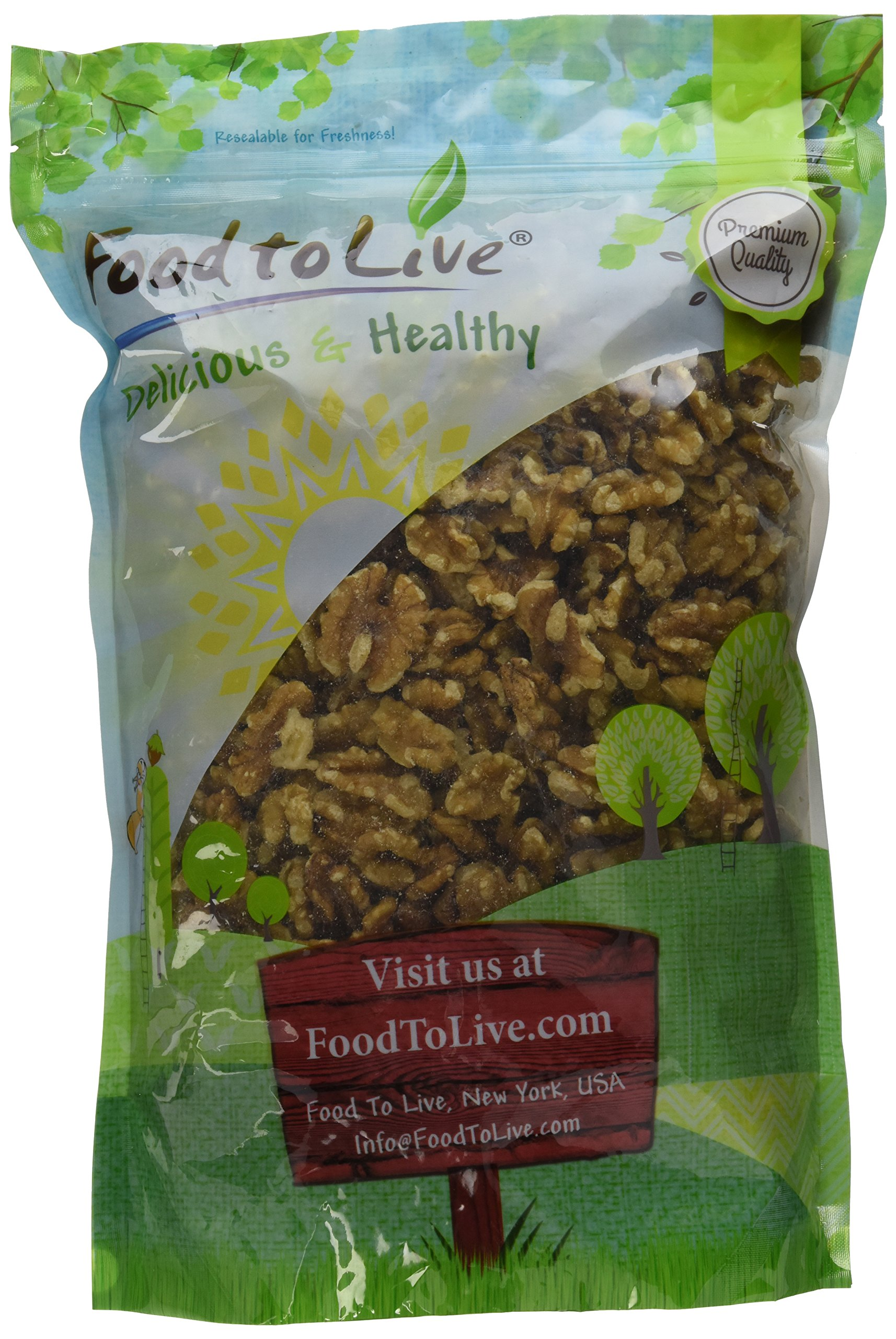 Walnuts by Food To Live (Raw, Kosher, Shelled, Unsalted, Natural, Bulk) — 2.5 Pounds