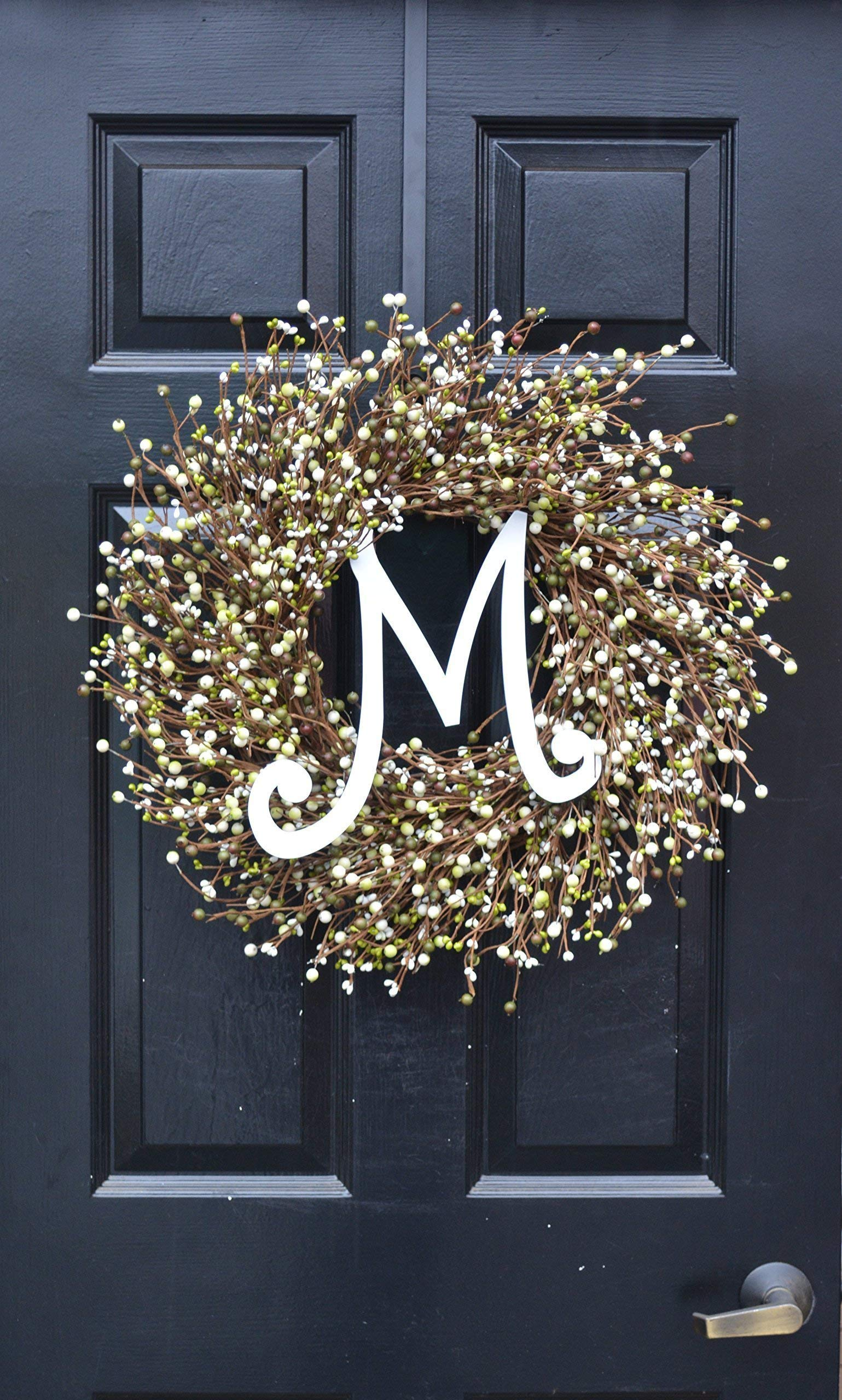 Elegant Holidays Handmade Cream, Green Berry Wreath with Monogram, Front Door Welcome Guests Outdoor Indoor Home Wall Accent Décor Great Spring, Easter, St Patricks Day, Christmas, All Seasons, 18-24 by Elegant Holidays Inc. (Image #4)