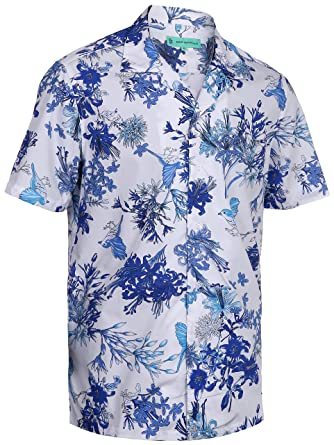 b54a0142 Mio Marino Mens Hawaiian Shirt - Funky Floral Shirt for Men - Short Sleeve Aloha  Shirt