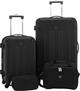 Travelers Club Sky+ Luggage Set, Black, 4 Piece