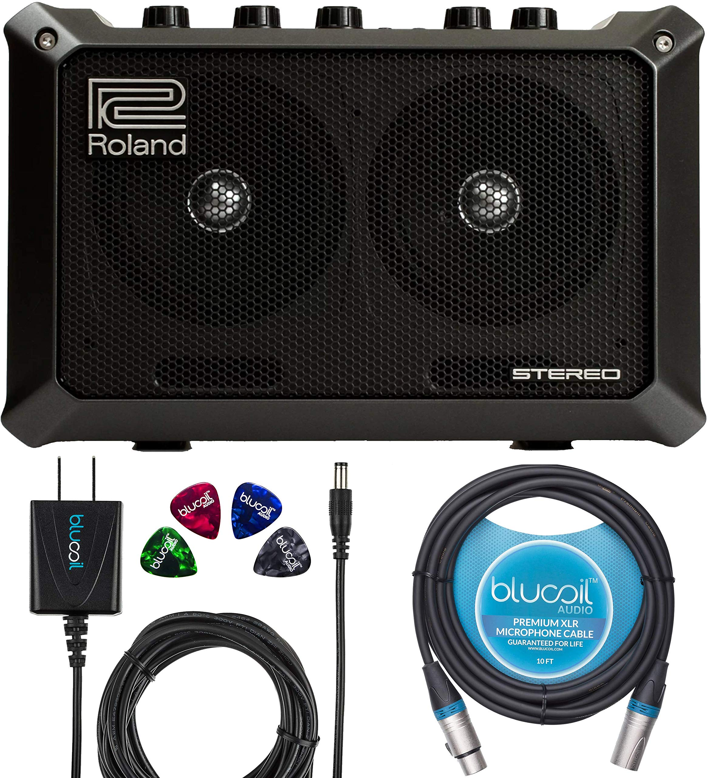 Roland MOBILE CUBE Portable Stereo Amplifier Bundle with Blucoil Slim 9V Power Supply AC Adapter, 10-Ft Balanced XLR Cable, and 4-Pack of Celluloid Guitar Picks