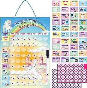 Unicorn Chore Chart for Kids, Magnetic Dry Erase Behavior Chart for Kids at Home, Reward Stars, Daily Routine Responsibility Chart for Multiple Kids, Homeschool Chart for Girls