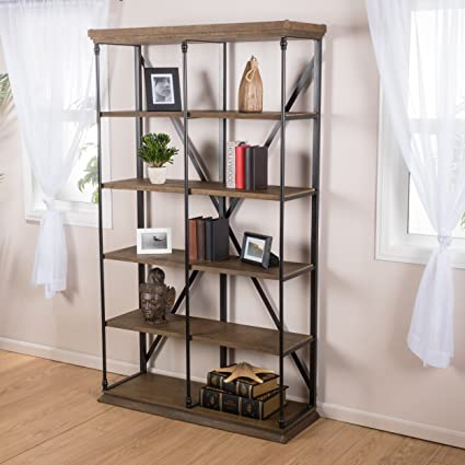 Alondra 5 Shelf Industrial Dark Khaki Wood Bookshelf