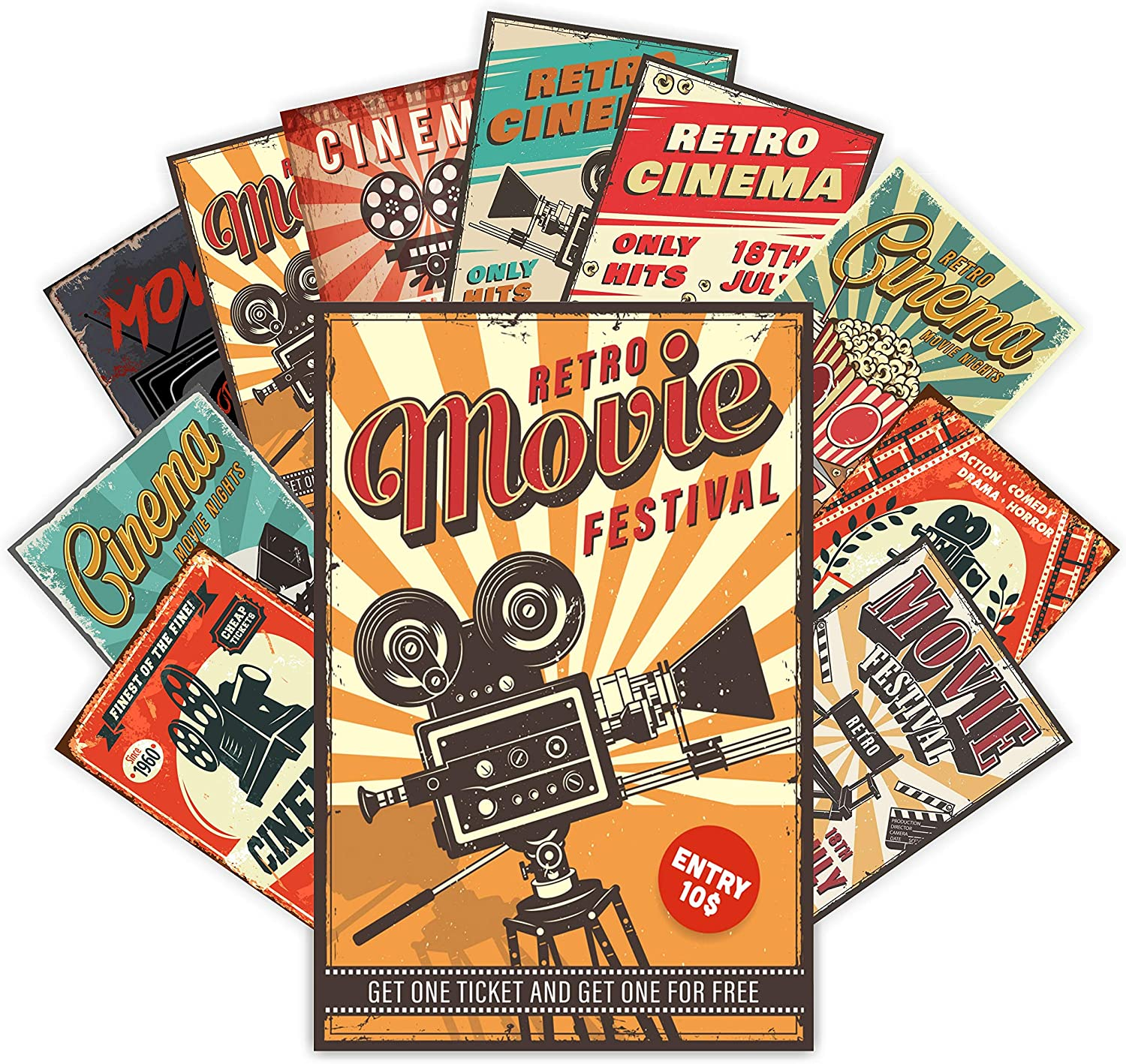HK Studio Vintage Posters of Classic Movie | Self-Adhesive, Vinyl Decal, Indie Posters for Room Aesthetic 90s | Indie Room Decor Wall Collage Kit | Old School, Retro Movie Posters | 7.8
