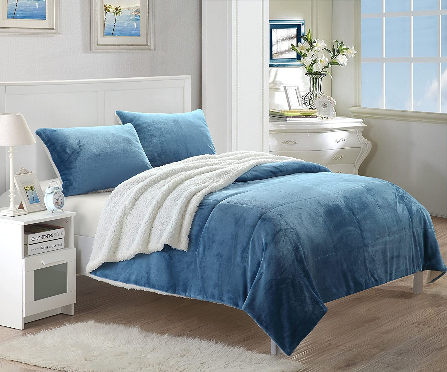 Chic Home Evie 2 Piece Blanket Set Soft Sherpa Lined Microplush Faux Mink with Sham, Twin XL Blue