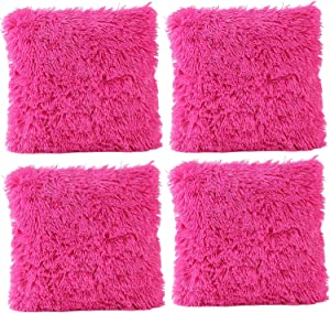 JOTOM Deluxe Throw Pillow Cover Case Decorative Soft Plush Cushion Cover Sofa Car Bedroom Home Decor Couch,17 x 17 Inches,Set of 4 (Plush|Hot Pink)