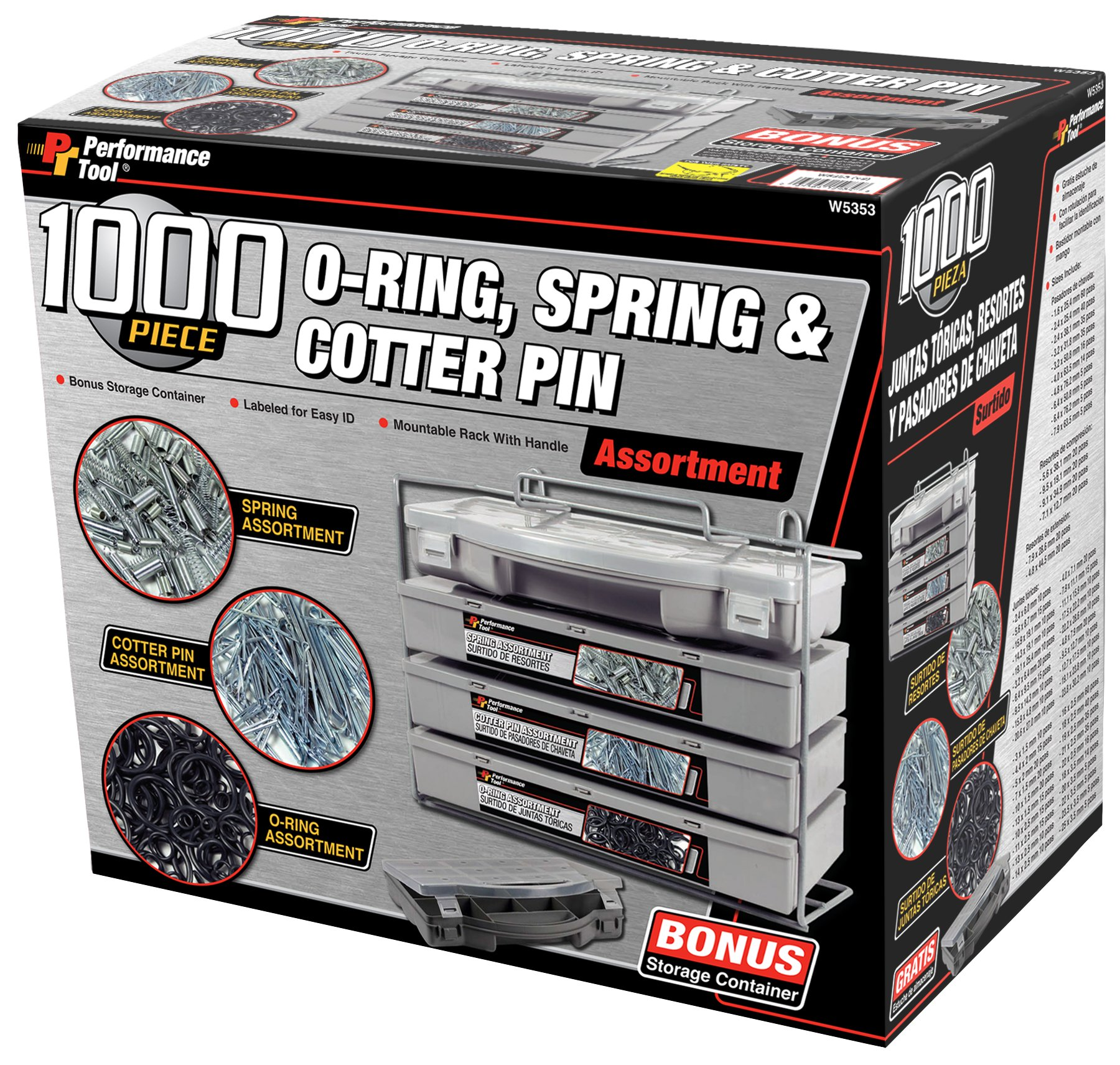 Performance Tool W5353 O-Ring, Spring, Cotter Pin, Assortment With Mountable Rack (1000-Piece Set)