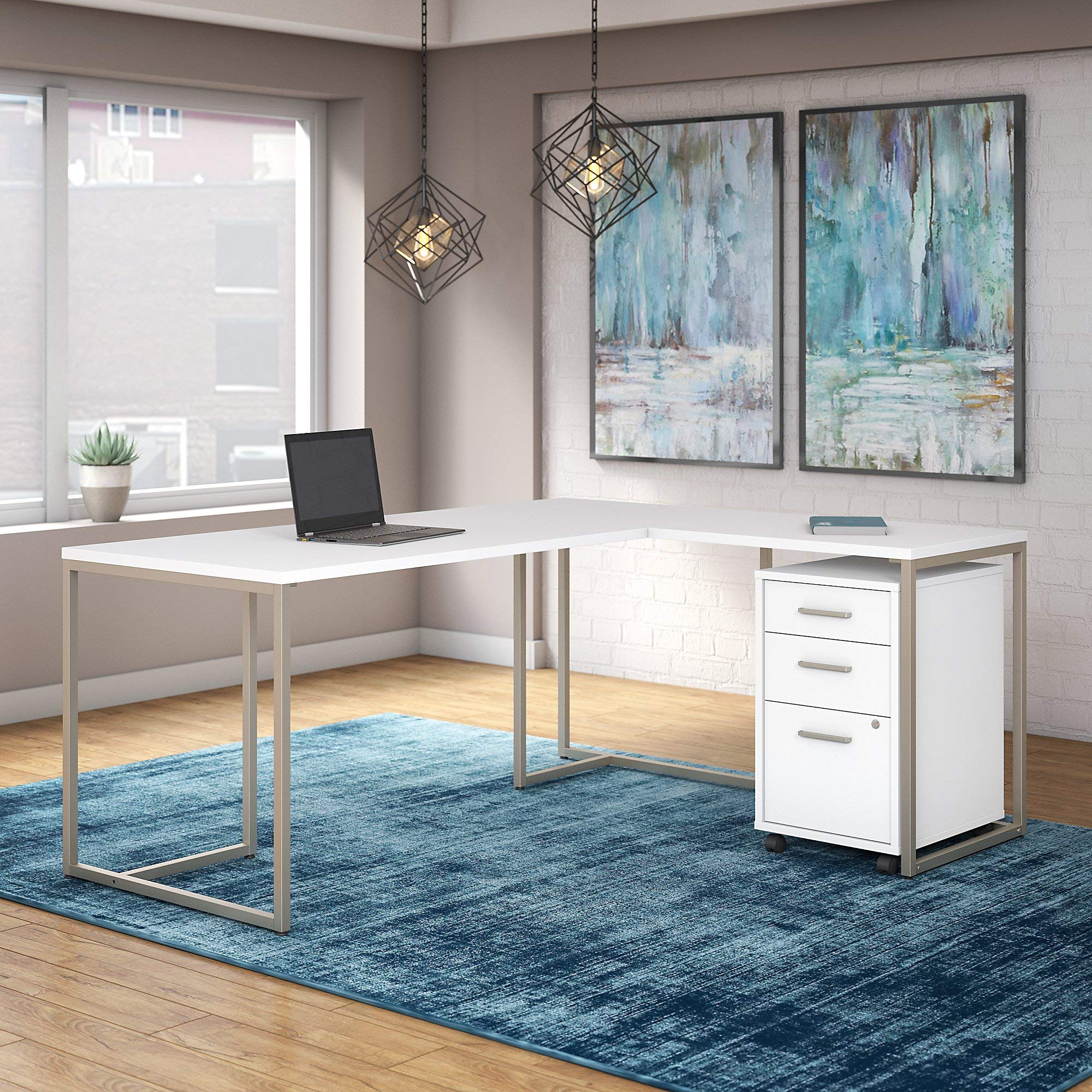 Office by kathy ireland Method 72W L Shaped Desk with 30W Return and Mobile File Cabinet in White by Kathy Ireland Office (Image #2)