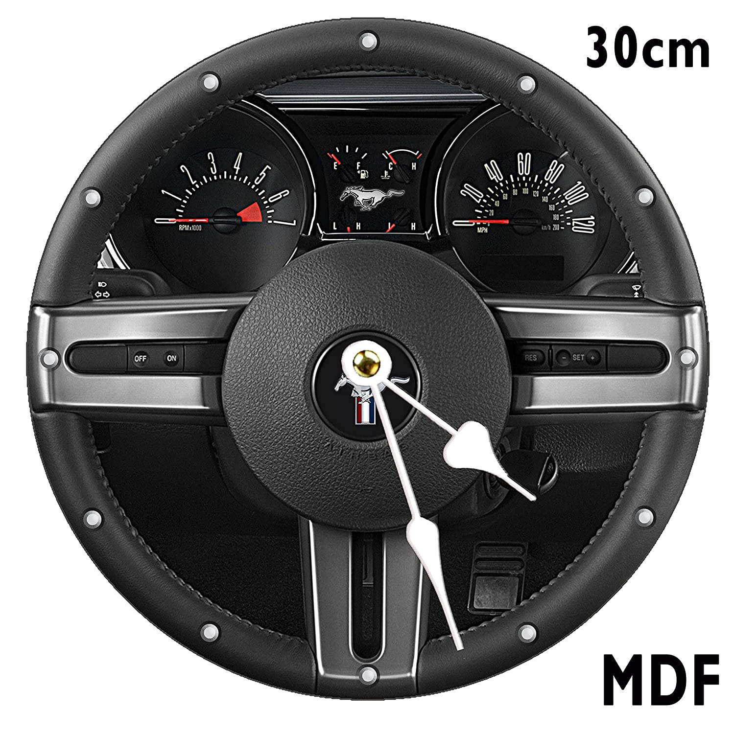 FORD MUSTANG Wheel Wall Clock Large 30CM MDF CAN BE PERSONALISED SGH SERVICES