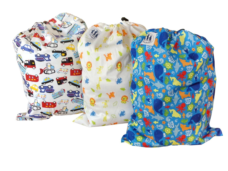 Bolsas de pañales de tela con patrones - conjunto de 3 - Niño pequeño/ Unisex: Amazon.es: Bebé