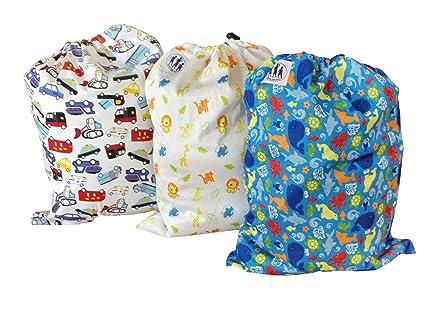 Bolsas de pañales de tela con patrones - conjunto de 3 ...