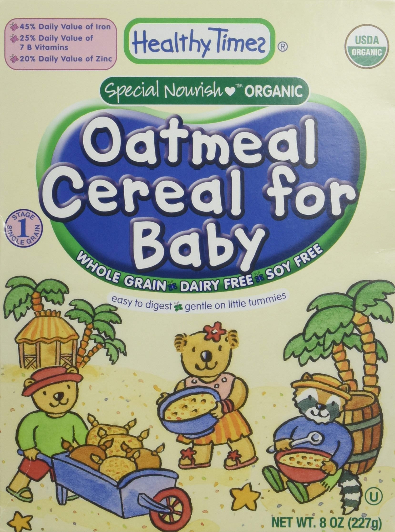 Healthy Times Organic Whole Grain Oatmeal Cereal for Baby, 8 Ounce
