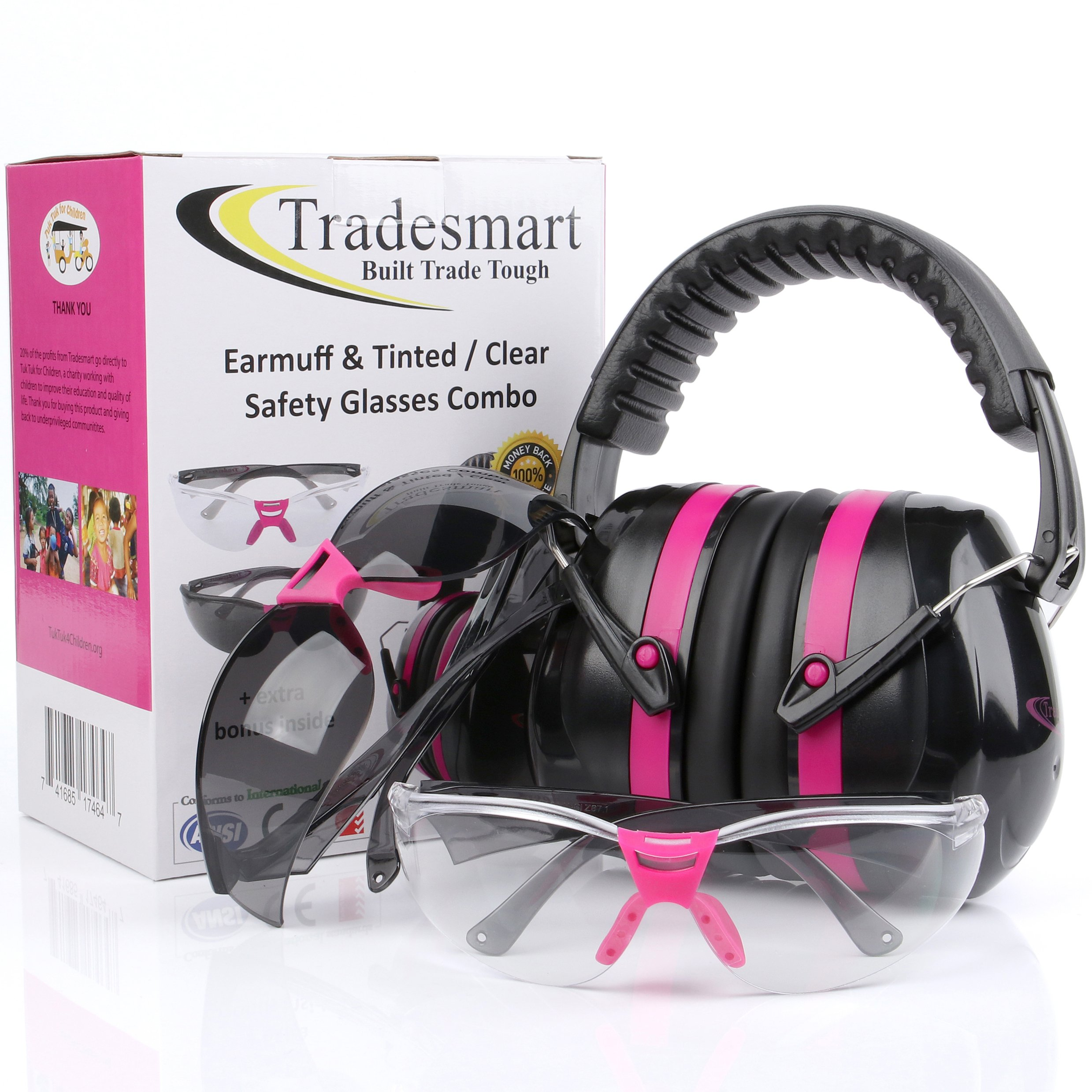TRADESMART Pink Ear Muffs & Clear/Tinted Gun Safety Glasses - UV400 Anti Fog & Anti Scratch with Microfiber Pouch | Gun Range Ear Protection & Eye Protection for Shooting by TRADESMART BUILT TRADE TOUGH