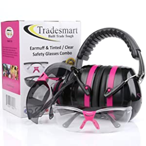 TRADESMART Pink Ear Muffs & Clear/Tinted Gun Safety Glasses - UV400 Anti Fog & Anti Scratch with Microfiber Pouch | Gun Range Ear Protection & Eye Protection for Shooting