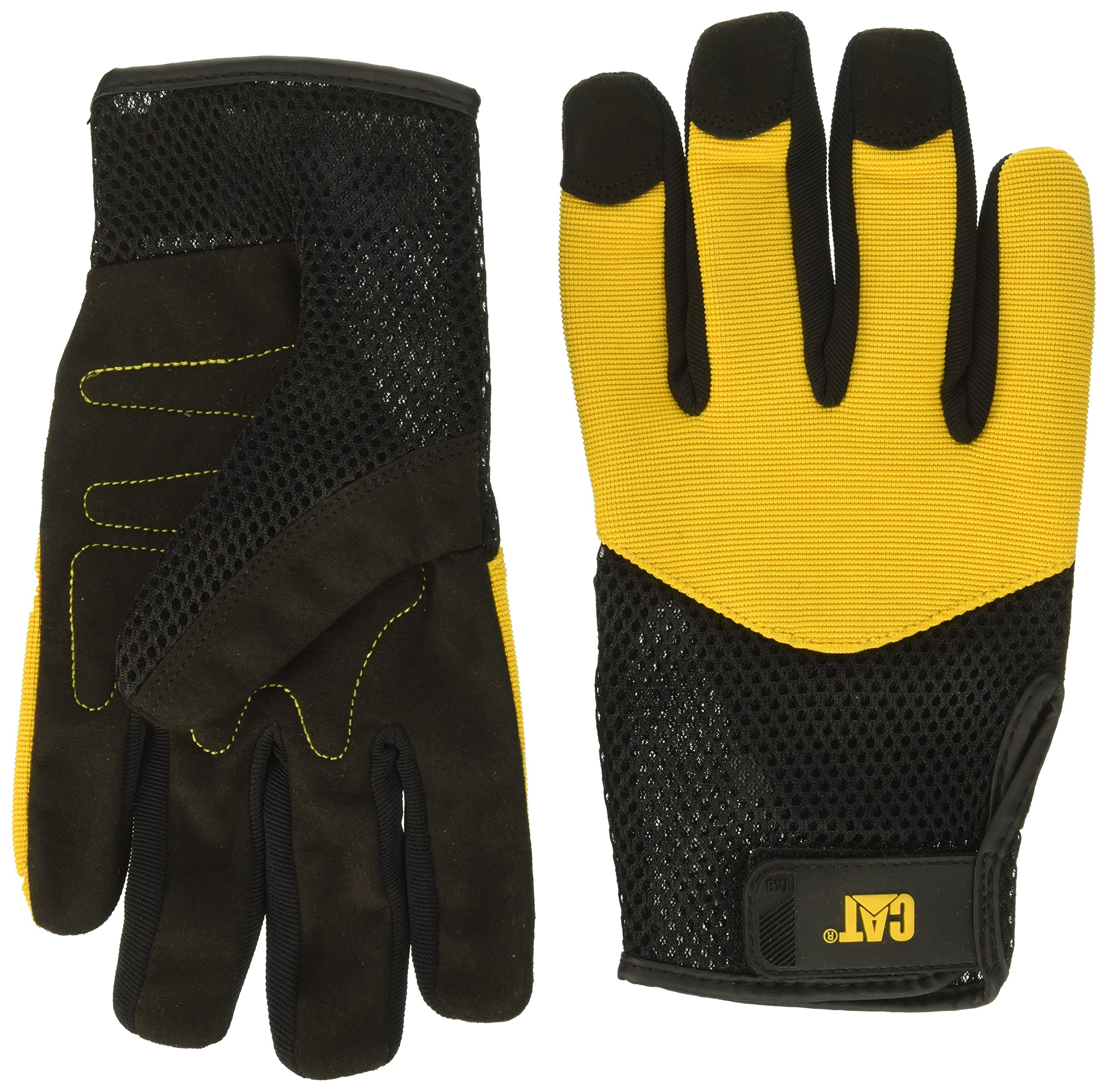 Caterpillar CAT012215J Padded Palm Utility Glove with a Mesh Spandex Back. Black Palm and Yellow Back. Size Jumbo.