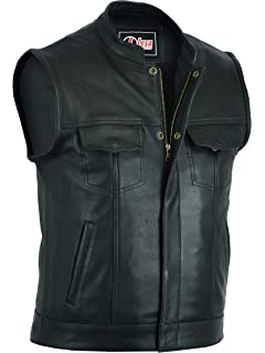 Son Of Anarchy Black Real Leather Handmade Motorcycle Biker Waistcoat Club Vest Modern Techniques Vests