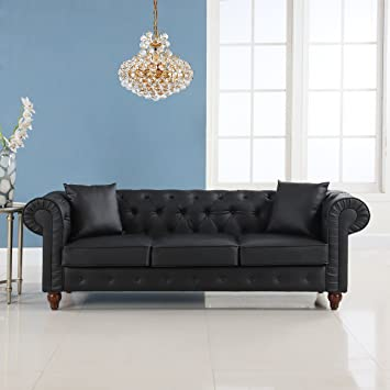 Classic Scroll Arm Chesterfield Sofa - Bonded Leather (Black)