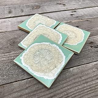 product image for Geode Crackle Coaster Set of 4 in Seafoam, Geode Coaster, Crackle Coaster, Fused Glass Coaster, Crackle Glass Coaster, Agate Coaster, Ceramic Coaster, Dock 6 Pottery Coaster