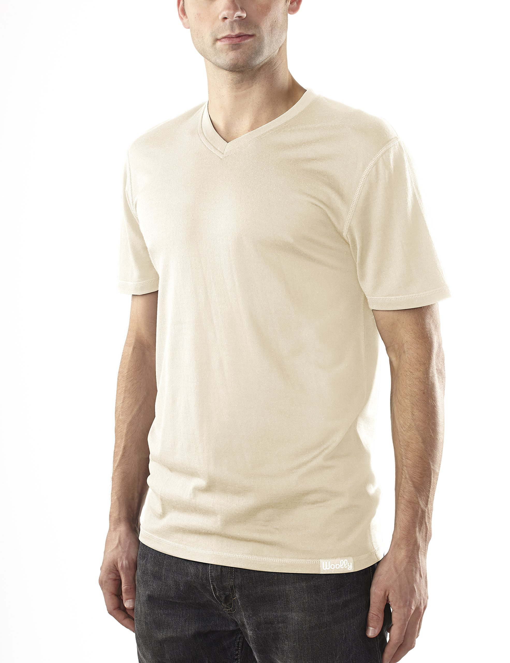 Woolly Clothing Co Men's Merino Wool V-Neck Hiking and Travel T-Shirt,Linen,Large