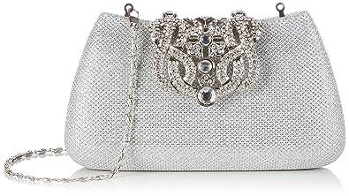 5b6cf4f48f KAXIDY Donna Pochette Borsa Sacchetto Borsetta Da Sera Borsa Diamante  Portafoglio Frizioni (Argento)