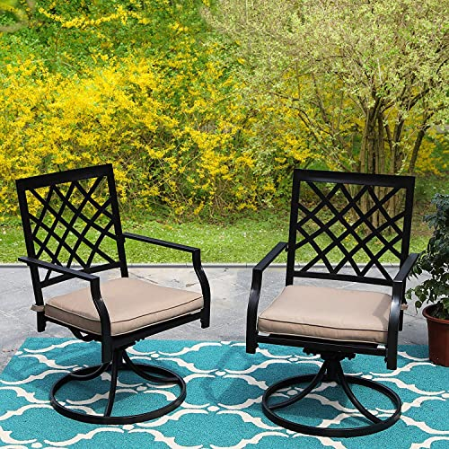 PHI Villa Patio Swivel Chair Outdoor Metal Dining Chairs Patio Furniture Sets Garden Backyard Cushion All-Weather