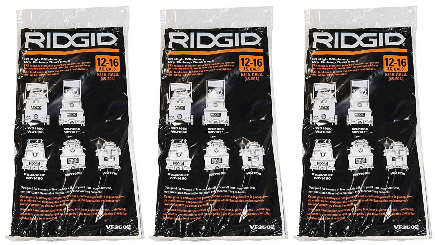 Ridgid VF3502 High Efficiency, Dry Pickup Dust Bags for 12 - 16 Gallon Ridgid Wet / Dry Vacuums (3 X Pack of 2)