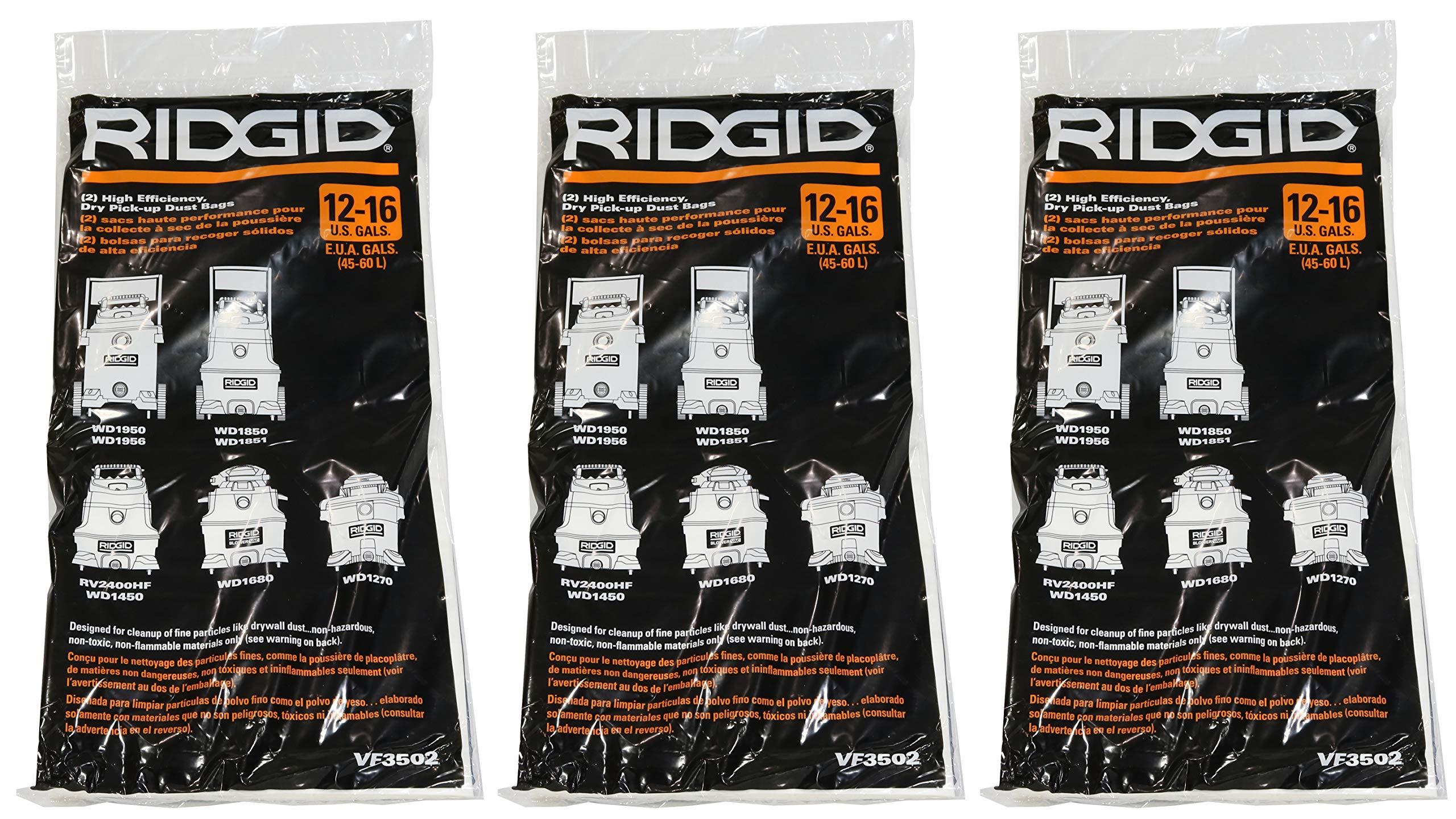 Ridgid VF3502 High Efficiency, Dry Pickup Dust Bags for 12 - 16 Gallon Ridgid Wet / Dry Vacuums (3 X Pack of 2)