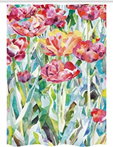 """Ambesonne Watercolor Flower Stall Shower Curtain, Painting of Summer Spring Flowers in Faded Colors Floral Seasonal Print, Fabric Bathroom Decor Set with Hooks, 54"""" X 78"""", Green Pink"""