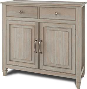 Simpli Home Connaught SOLID WOOD 40 inch Wide Transitional Entryway Storage Cabinet in Distressed Grey, with 2 Drawers, 2 Doors, Adjustable Shelves