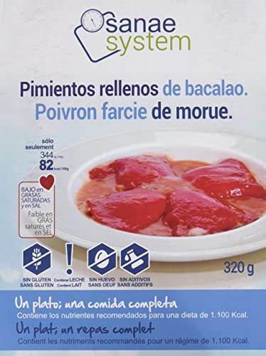 Menú Sanae Pimientos Rellenos de Bacalao - 4 Paquetes de 320 gr - Total: 1280 gr: Amazon.es: Alimentación y bebidas
